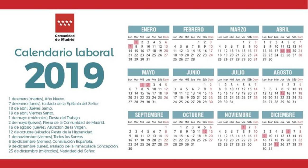 Calendario Laboral Fuenlabrada 2019.Calendario Laboral 2019 En La Comunidad De Madri Soyde