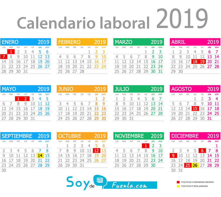 Calendario Laboral Comunidad De Madrid.El Calendario Laboral De Fuenla Ya Disponible Soyde