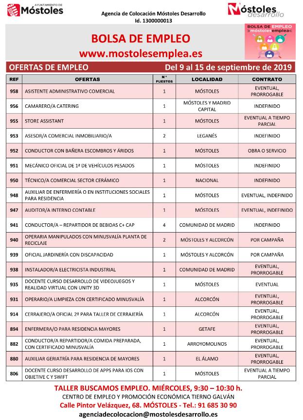 empleos semanales mostoles desarrollo 9 septiembre de 2019