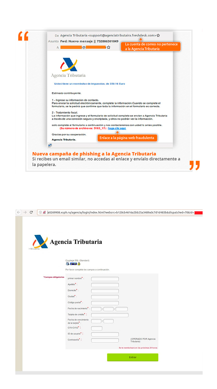 phishing estafa hacienda
