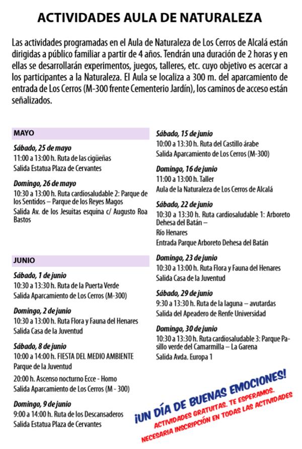 programa rutas alcala mayo y junio 2019
