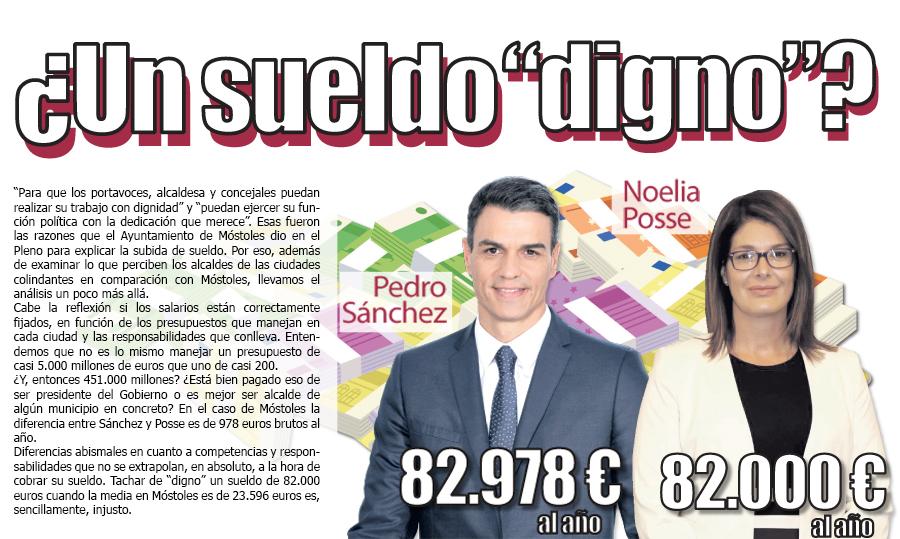 comparativa de sueldo de la alcaldesa de mostoles, noelia posse y pedro sanchez