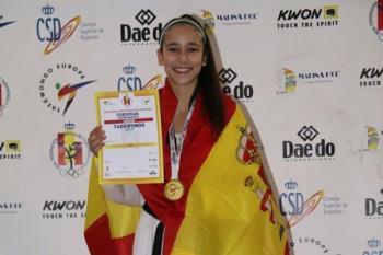 La joven deportista entrena en el HanKuk de San Sebastián de los Reyes y ya acumula varios premios, como el oro en el Campeonato Europeo de Helsingborg