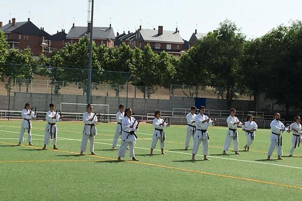 Adultos y pequeños aprenden karate