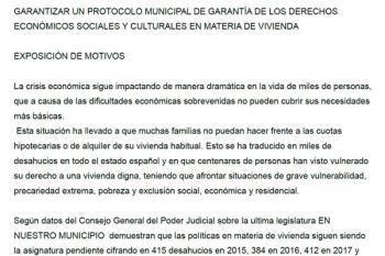 """Stop Desahucios registra una propuesta de moción en el ayuntamiento para combatir una situación que catalogan de """"preocupante"""""""