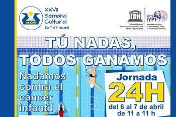 Por cada hora nadada se recaudará un euro, destinado a la labor de esta ONG que ayuda a niños y adolescentes enfermos de cáncer