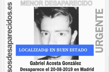 SOS Desaparecidos desactiva la alerta de Gabriel, de 16 años, que desapareció el pasado 20 de agosto