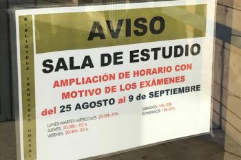 Del 25 de agosto al 9 de septiembre, accede a la sala de estudio incluso los fines de semana