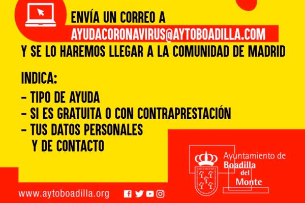A través del correo electrónico podremos ofrecer nuestra ayuda a la Comunidad de Madrid
