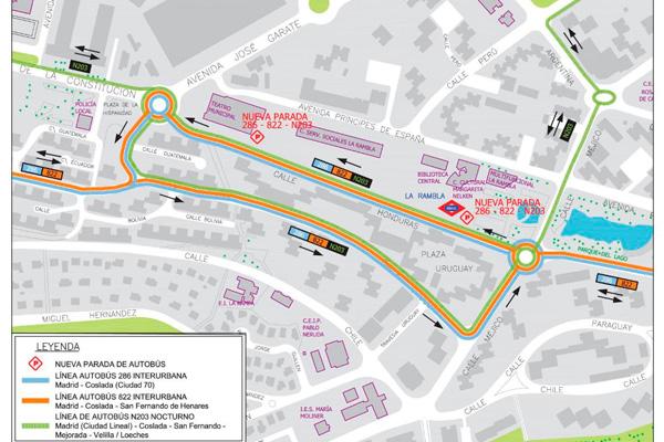 Las líneas de autobús 286, 822 y N-203 también cambiarán el recorrido