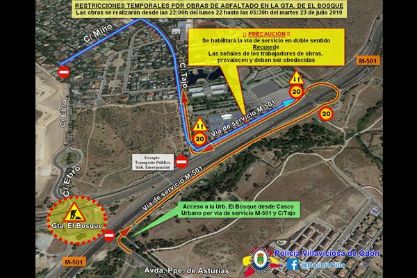 La rotonda de acceso a la urbanización sufrirá restricciones desde las 22:00 horas de hoy y hasta las 5:30 horas del martes, 23 de julio