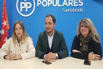 Sergio López valora los resultados electorales en la sede del PP en Fuenlabrada