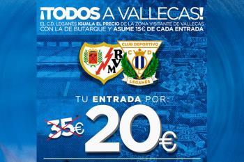 El CD Leganés subvenciona las entradas visitantes de su afición para su partido ante el Rayo