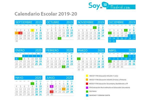 El Calendario Escolar 2019-2020 de Madrid