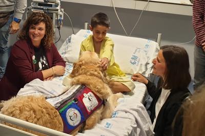 Lee toda la noticia 'El Hospital 12 de Octubre pionero en aliviar el dolor de los niños ingresados usando terapia con perros'