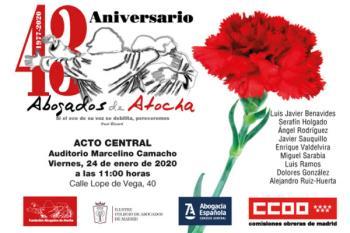 El acto tendrá lugar en el Auditorio Marcelino Camacho coincidiendo con la conmemoración del 43º aniversario del atentado