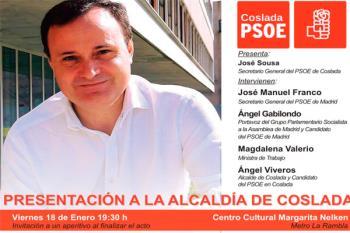 El acto contará con el Secretario General del PSOE, José Manuel Franco, el candidato a la Presidencia de la Comunidad, Ángel Gabilondo y la Ministra de Trabajo, Magdalena Valerio