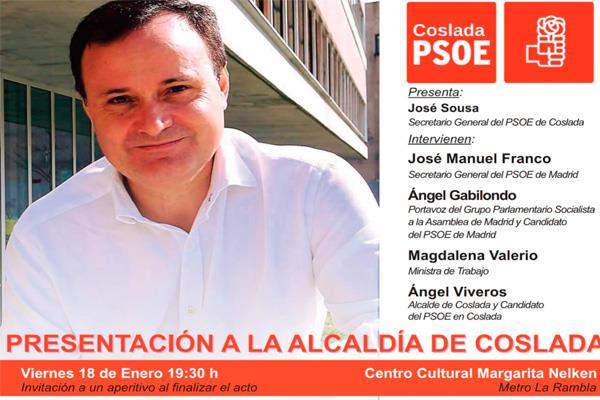 El PSOE de Coslada presenta en un acto público al candidato a la alcaldía 2019