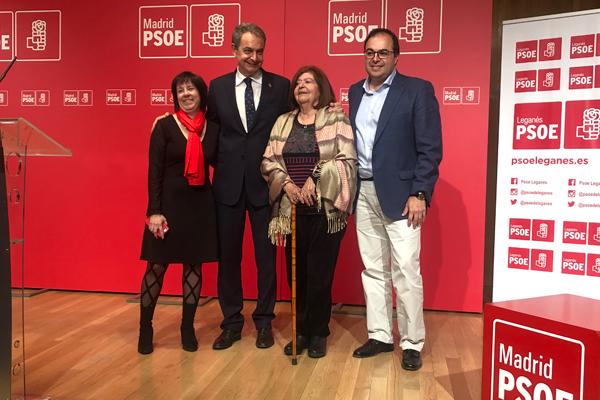 El ex presidente del Gobierno fue galardonado por el Partido Socialista de Leganés