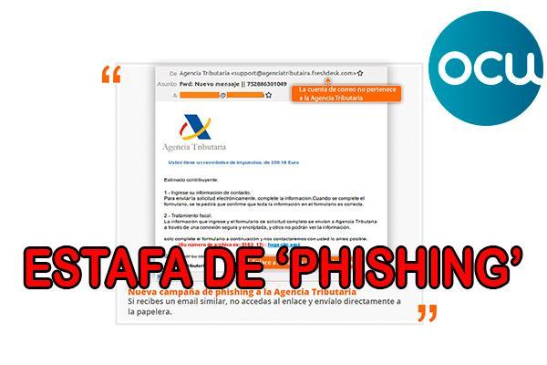 La OCU avisa de una nueva estafa de phishing