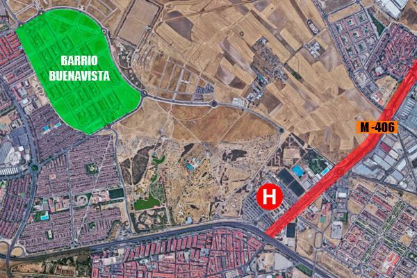 La carretera que conectará el barrio de Buenavista (Getafe) con la M-406 está más cerca