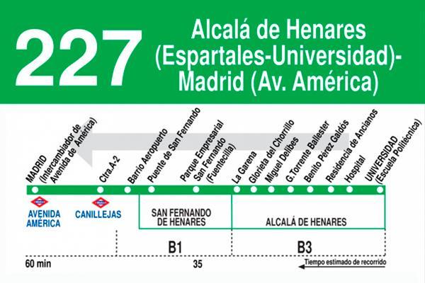 La línea de autobús 227 de Alcalá, operativa los fines de semana y festivos