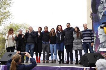 Podemos Móstoles y su candidata a la alcaldía, Mónica Monterreal, también han estado arropados por Ione Belarra y Juan Carlos Monedero