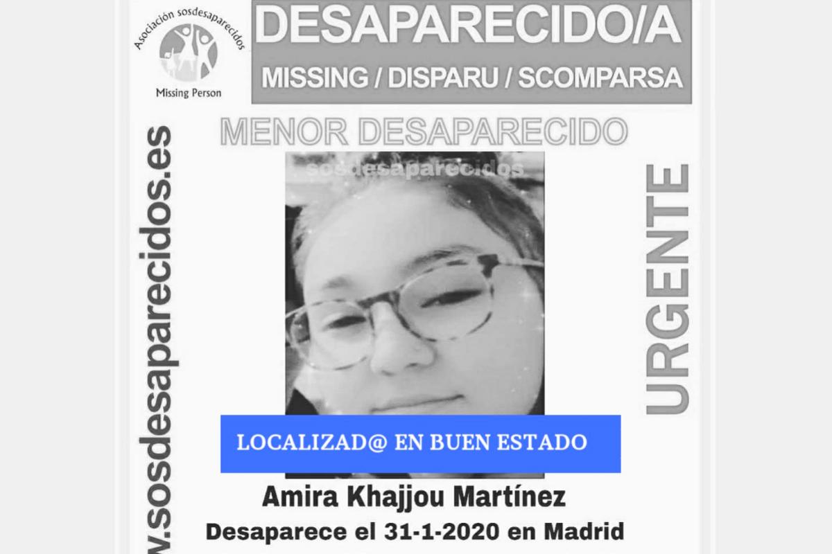 La Guardia Civil notifica que Amira ha sido localizada en buen estado