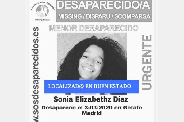 SOS Desaparecidos notifica que Sonia ha sido localizada en buen estado