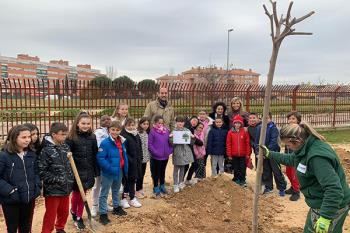 El concejal de Medio Ambiente, Enrique Nogués, ha participado en una plantación escolar en el CEIP Espartales