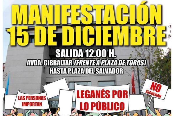 Los colectivos de Leganés protestarán por el deterioro de los servicios públicos el 15-D