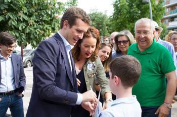 Pablo Casado cerraba ayer la candidatura por Madrid en la que se encuentra la actual portavoz del grupo municipal