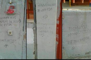 """Frases como """"minusválidos de mierda"""" o """"muerte a los niños en silla de ruedas"""" se pueden leer en los muros del centro"""