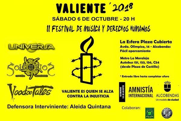 II Festival de Música y Derechos Humanos - Valiente`2018 en Alcobendas