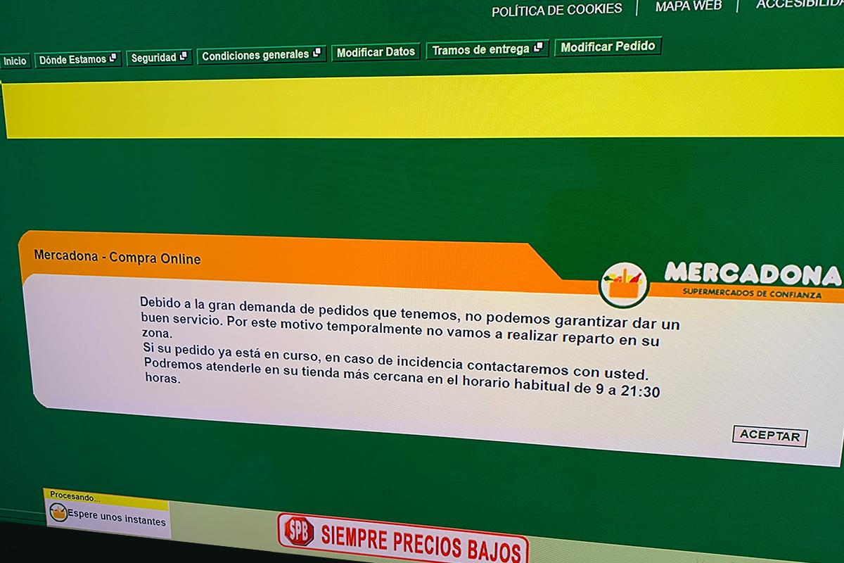 Mercadona suspende el envío a domicilio en Madrid