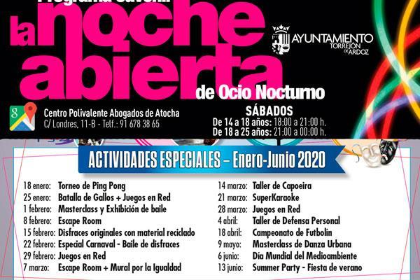 La noche abierta es una iniciativa de ocio alternativo y gratuito para los jóvenes de Torrejón de Ardoz