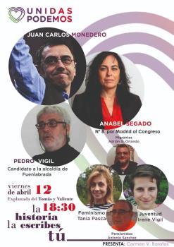 A las 18:30 horas con Juan Carlos Monedero, Anabel Segado y Pedro Vigil candidato a la alcaldía de Fuenlabrada
