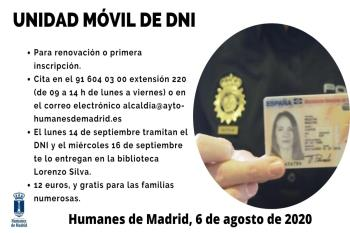 La unidad móvil estará el lunes 14 para la tramitación y el miércoles 16 de septiembre para la entrega del documento