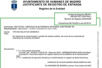 Soyde. ha solicitado al Ayuntamiento de Humanes por Registro los contratos referidos al manteniminto de los contenedores soterrados