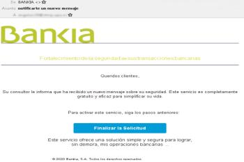 Redirigen a una web falsa para robar credenciales de acceso e información bancaria, con la excusa de un nuevo servicio de seguridad.