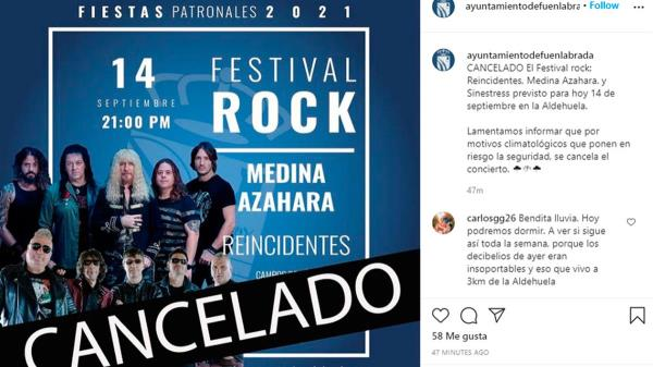 Reincidentes actuaban en el mismo Festival de Rock, que iba a celebrarse este martes