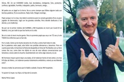 Lee toda la noticia 'La carta de Marta a su padre Luis, primer médico de Madrid que fallece por covid19'