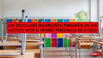 El día de las elecciones no podrá ser recuperado por los escolares madrileños