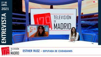 La número 2 en las listas de Ciudadanos, Esther Ruiz, presenta en Televisión de Madrid la receta de su partido para la región