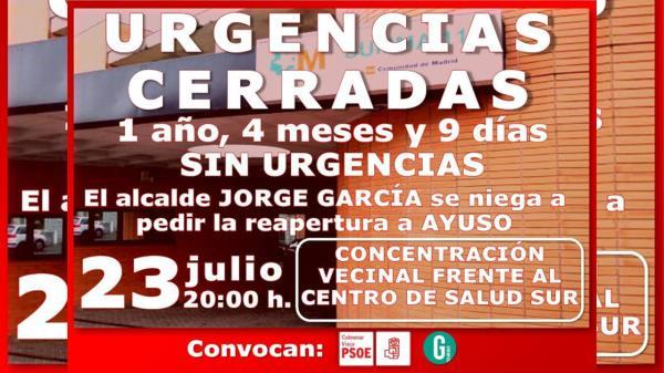 PSOE Y Ganemos Colmenar convocan una concentración en el Centro de Salud Sur para exigir la apertura de las Urgencias