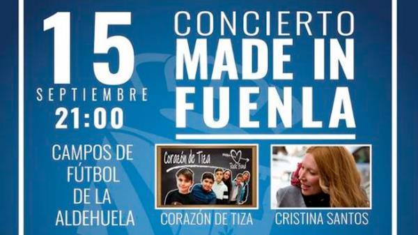 Concierto Made in Fuenla, el próximo 15 de septiembre, con Corazón de Tiza, Cristina Santos, Cyanite, Endorfinas y Xenior
