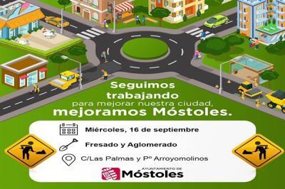 Lee toda la noticia 'Continuan los trabajos de asfaltado y aglomerado en la calle Las Palmas y el Paseo de Arroyomolinos de Móstoles'