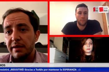 El director del IMIDRA, Sergio López, se asoma a los estudios virtuales de Televisión de Madrid desde su casa