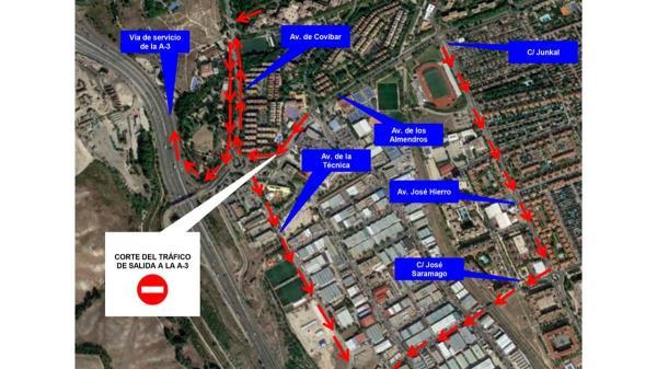 Por trabajos de mejora, el túnel de salida a la A-3 desde la avenida de los Almendros permanecerá cortado hasta el 26 de agosto
