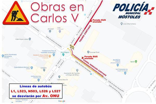 Cortes de tráfico por obras en Carlos V y Veracruz